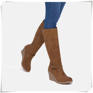 Heeled Wedge Faux Suede Winter Boots